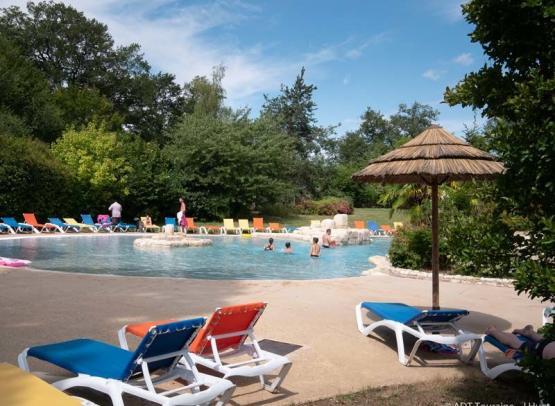 The swimming-pool - Parc de Fierbois campsite - Loire Valley, France.